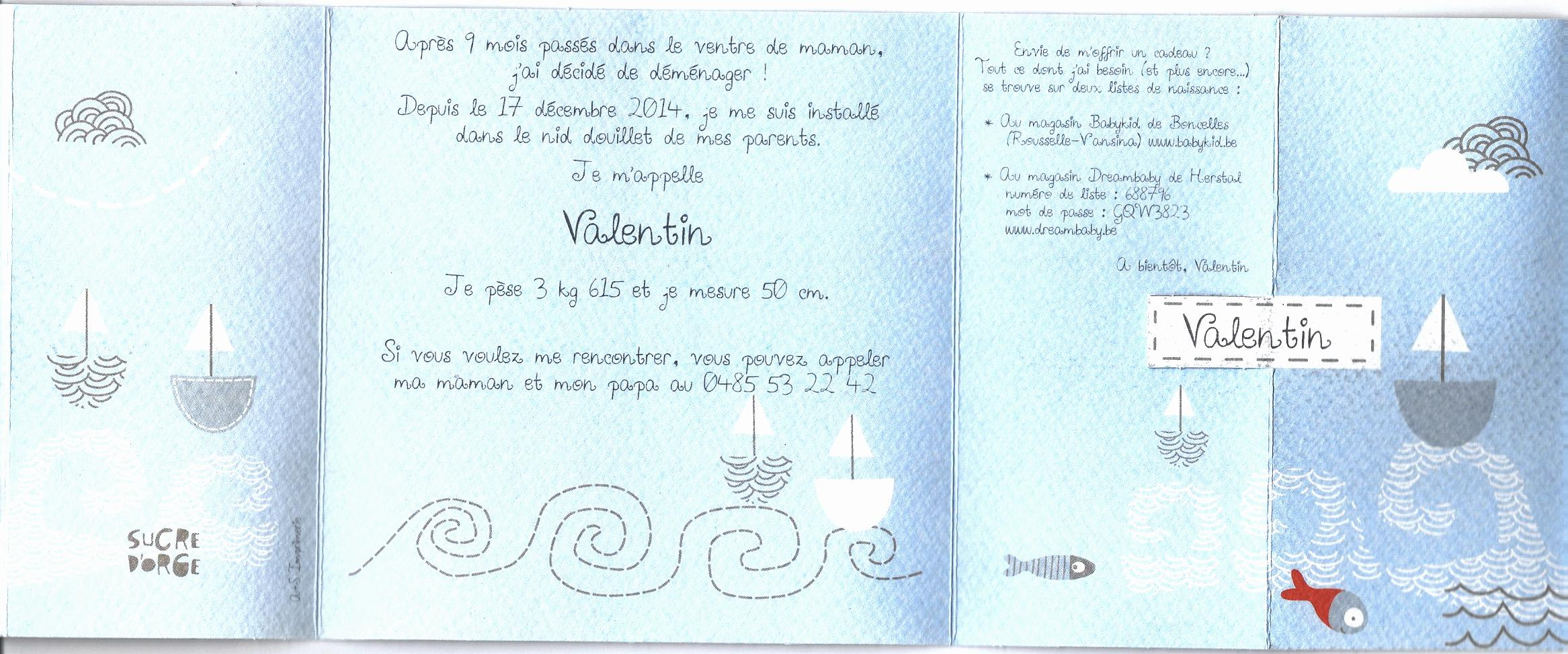 Faire Part Valentin Rousselle